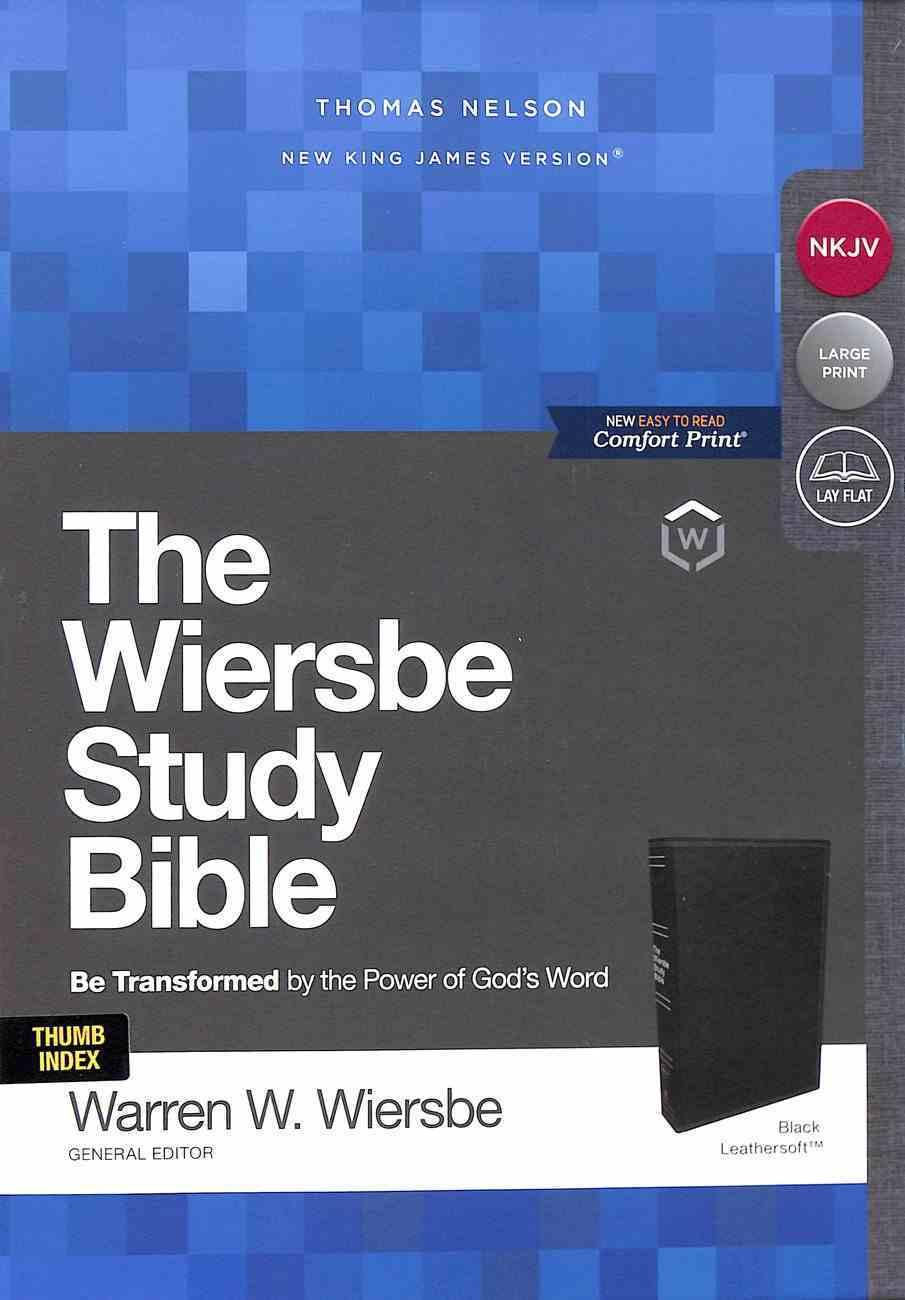 NKJV Wiersbe Study Bible Black Indexed Premium Imitation Leather