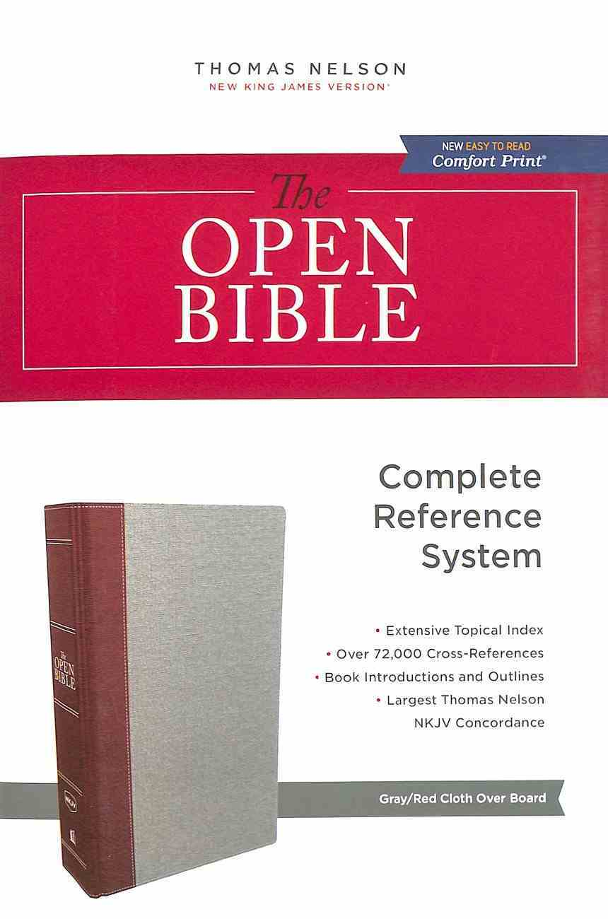 NKJV Open Bible Gray/Red (Red Letter Edition) Hardback