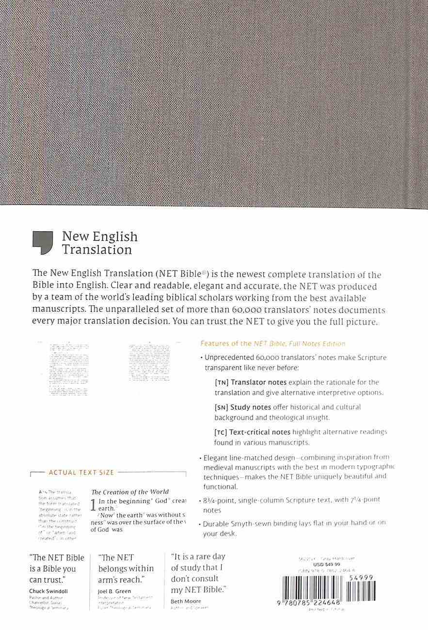 NET Bible Full-Notes Edition Gray Fabric Over Hardback