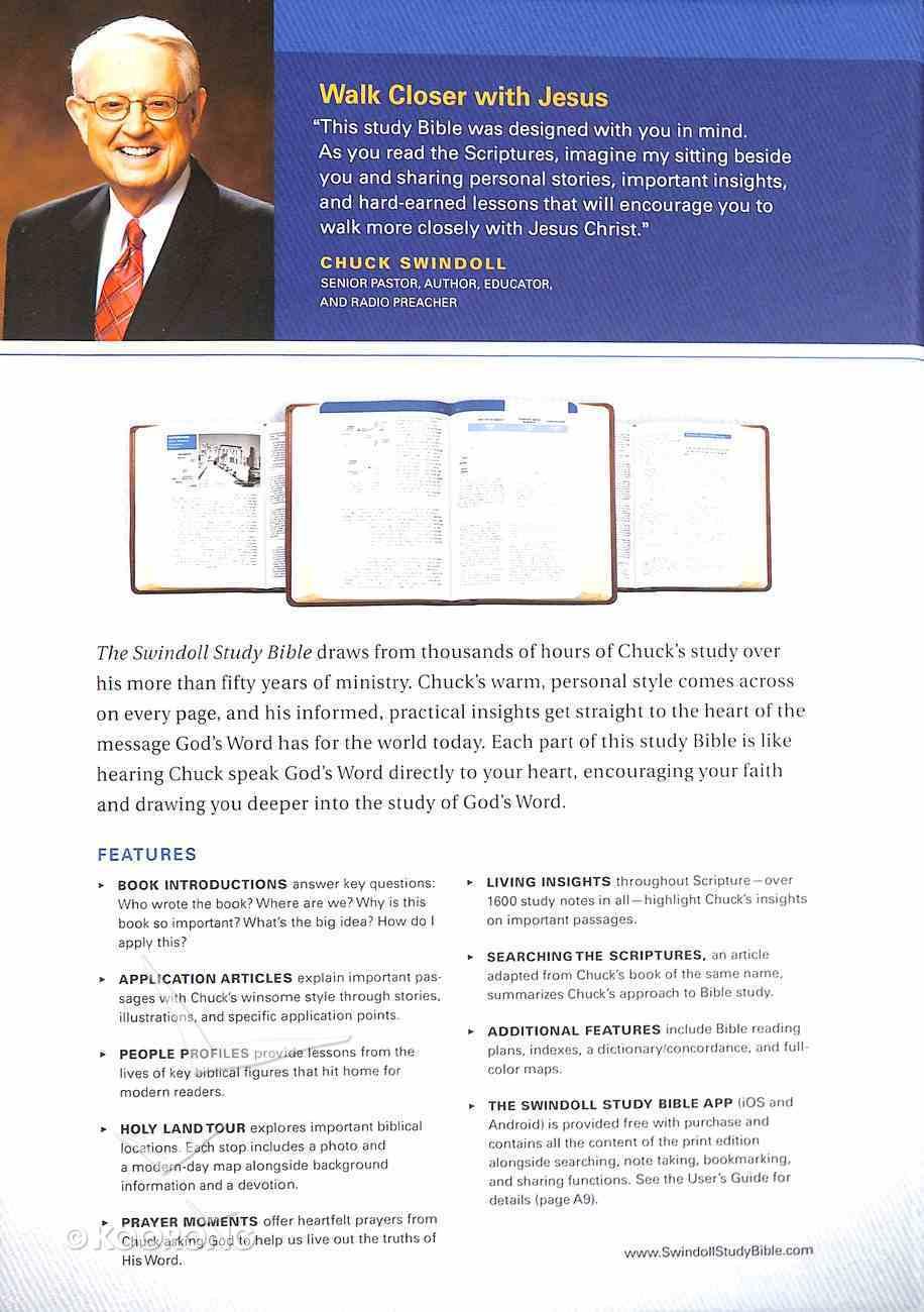 NLT Swindoll Study Bible Large Print Black (Black Letter Edition) Imitation Leather