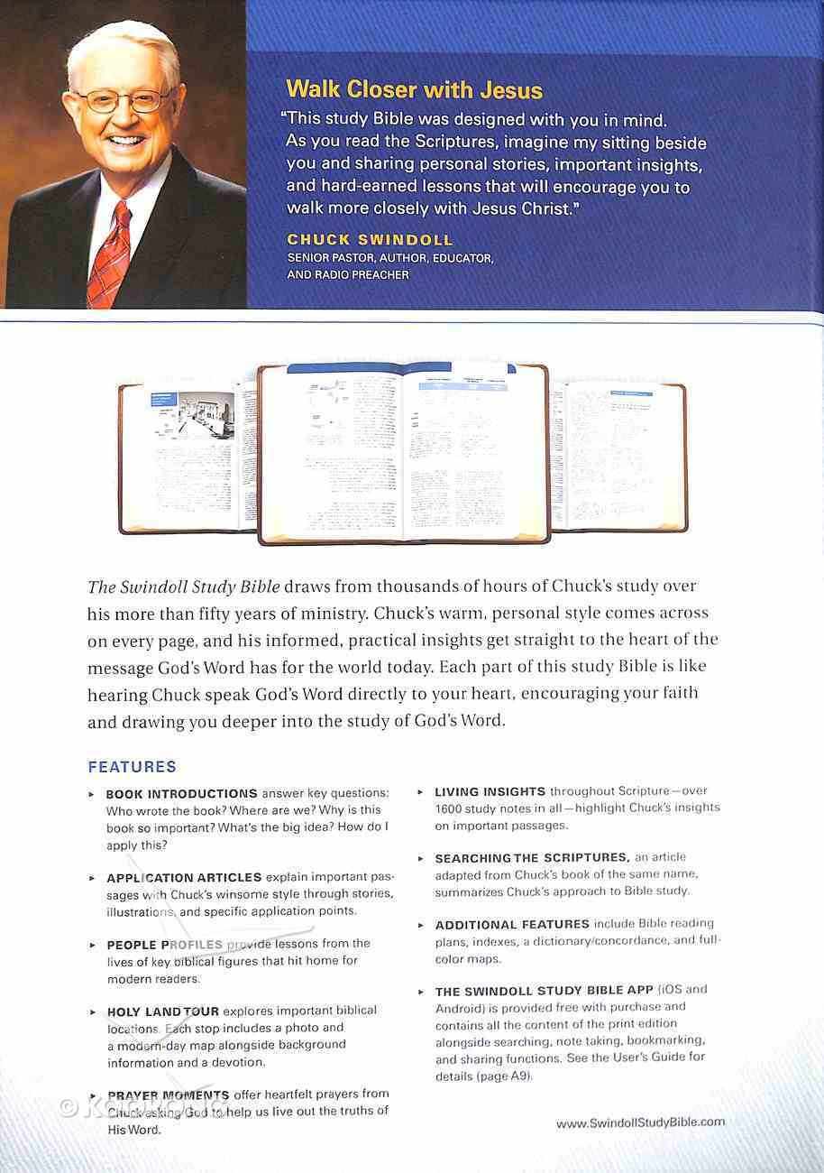 NLT Swindoll Study Bible Large Print Indexed Brown/Tan (Black Letter Edition) Imitation Leather