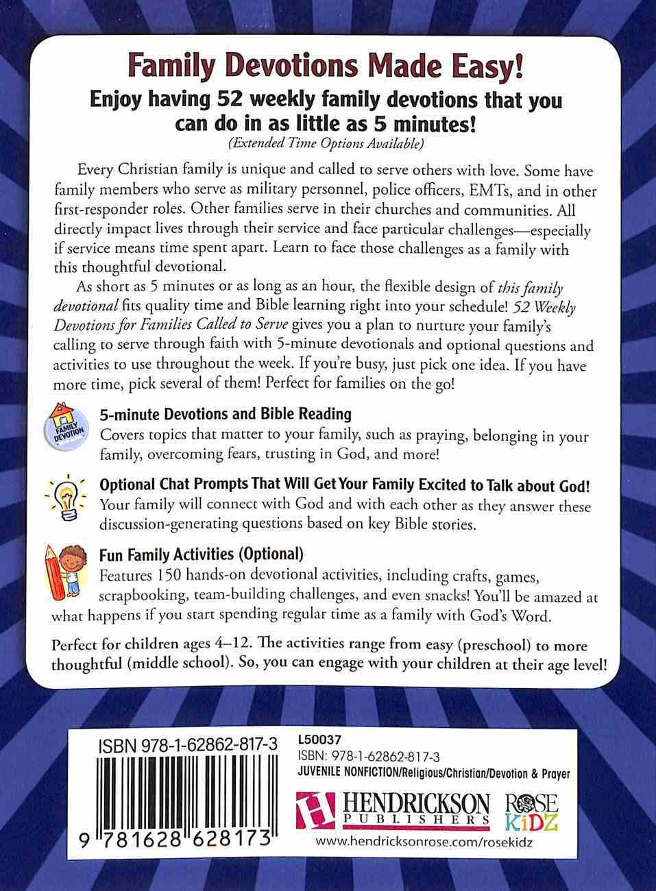 52 Weekly Devotions For Families Called to Serve Paperback