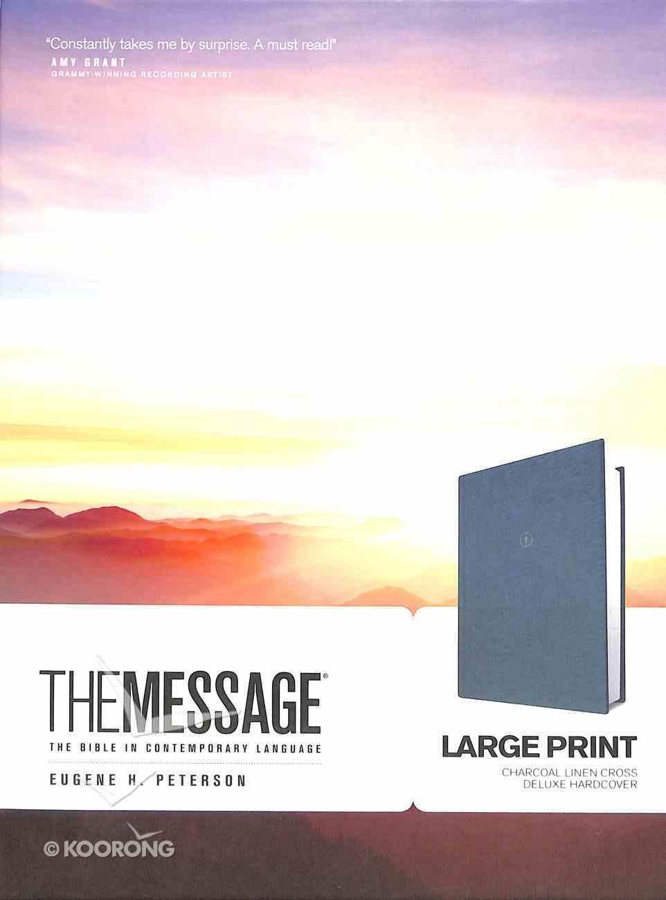 Message Large Print Charcoal Linen Cross (Black Letter Edition) Hardback