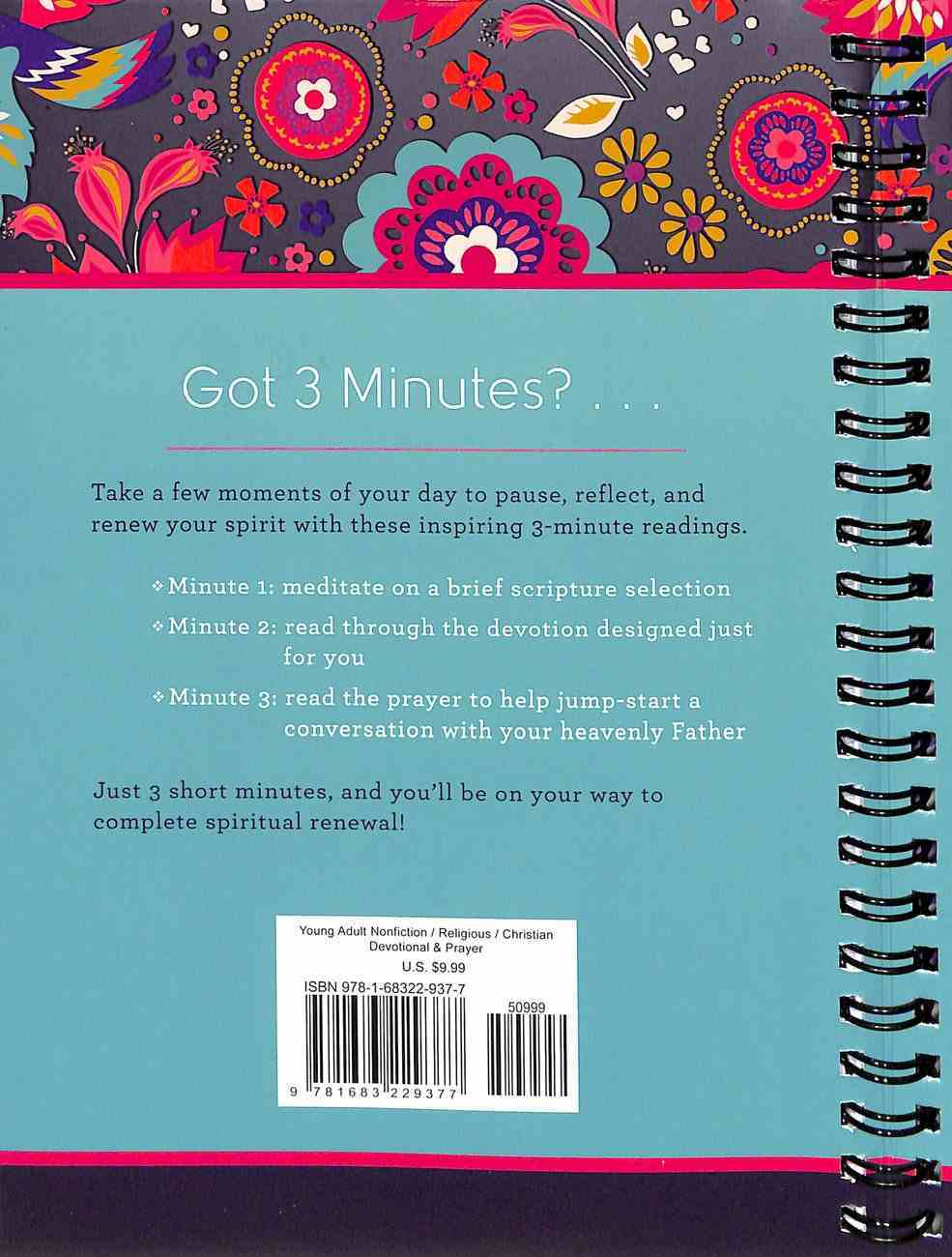 3-Minute Devotions For Teen Girls Journal (3 Minute Devotions Series) Spiral