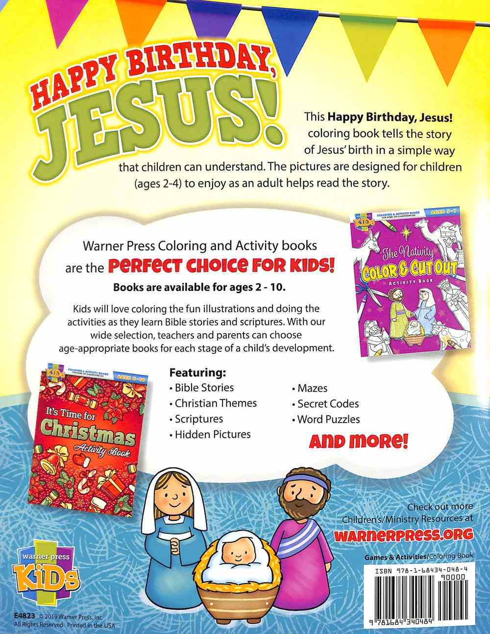 Happy Birthday, Jesus (Ages 2-4, Reproducible) (Coloring Book) (Warner Press Colouring & Activity Books Series) Paperback
