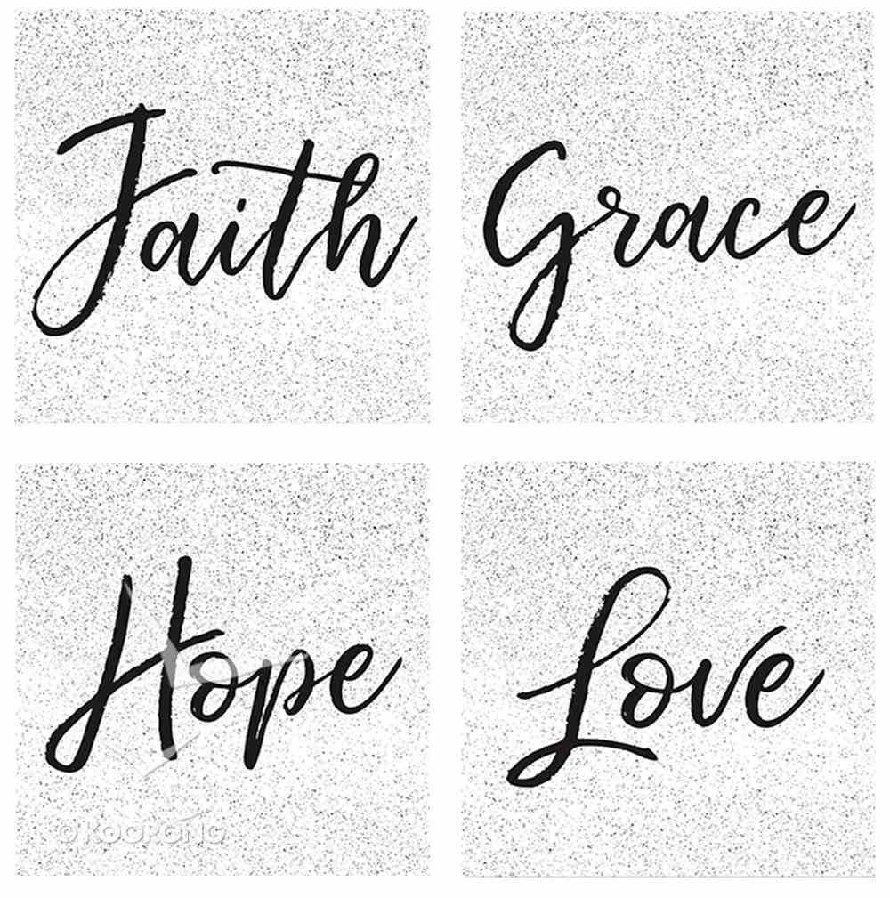 Ceramic Square House Coaster Set of 4: Classic - Faith, Grace, Hope, Love, Black/White Homeware