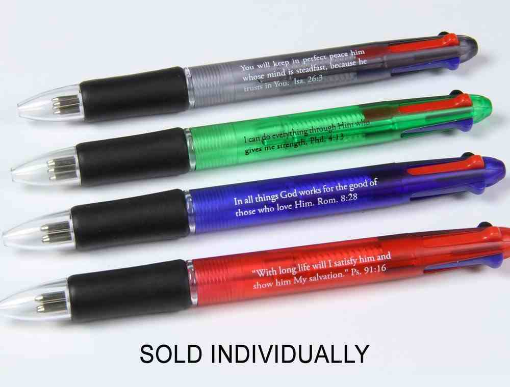 Pen: Four Colours in One: Blue, Black, Red, Green in One Pen With Scripture Verse Stationery