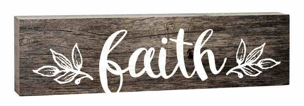 Tabletop Decor: Faith, Small Pine Sign, Leaves Plaque