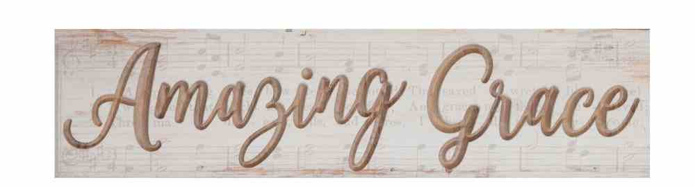 Carved Tabletop Decor: Amazing Grace, Musical Notes Plaque