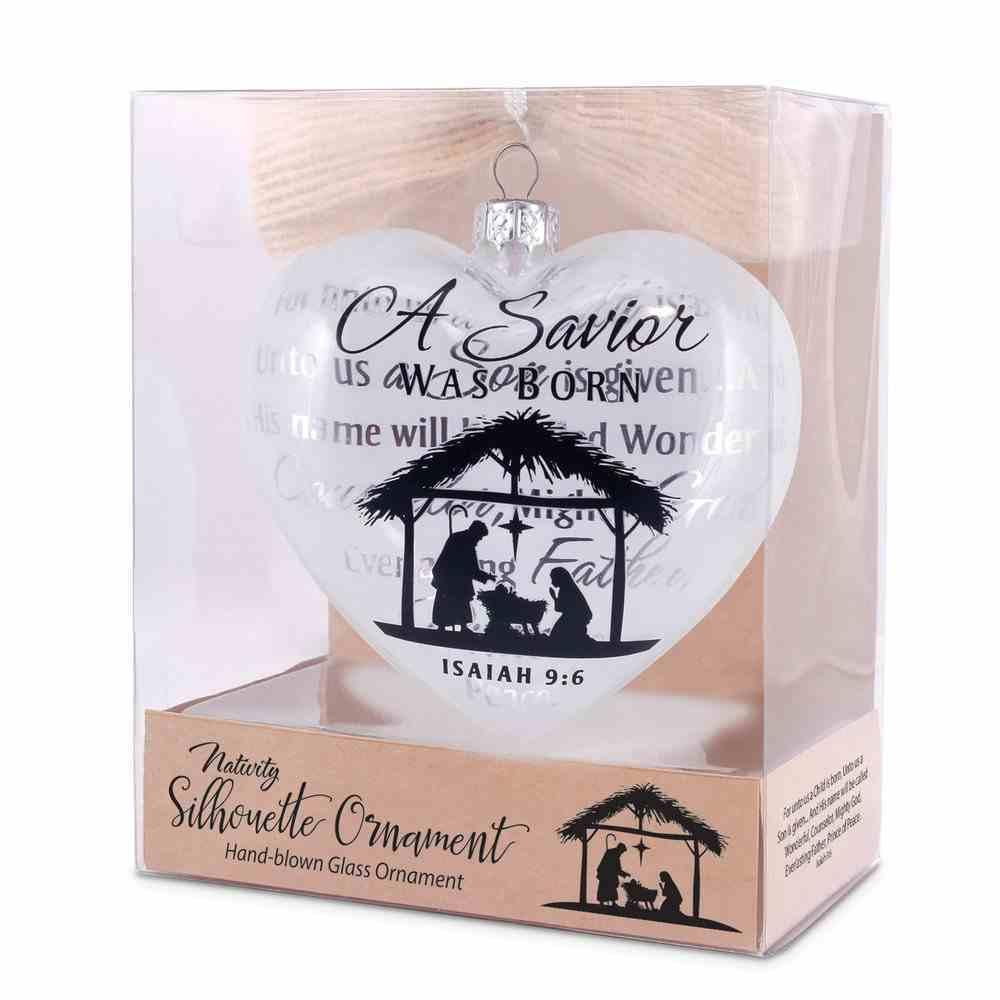 Christmas Glass Hearty Shape Ornament: A Savior Was Born, Nativity Silhouette Homeware