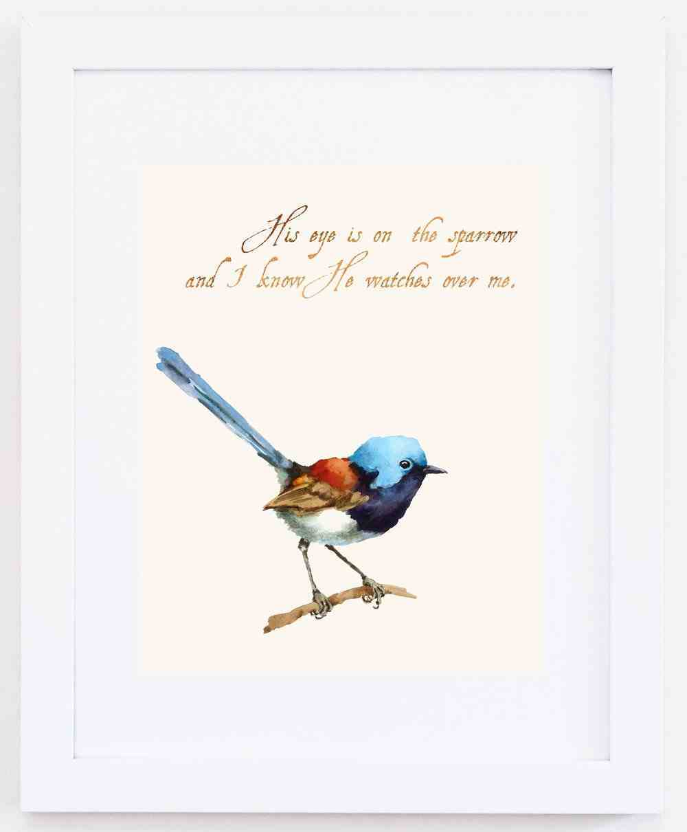 Medium Framed Print: Watercolour Bird - His Eye is on the Sparrow Plaque