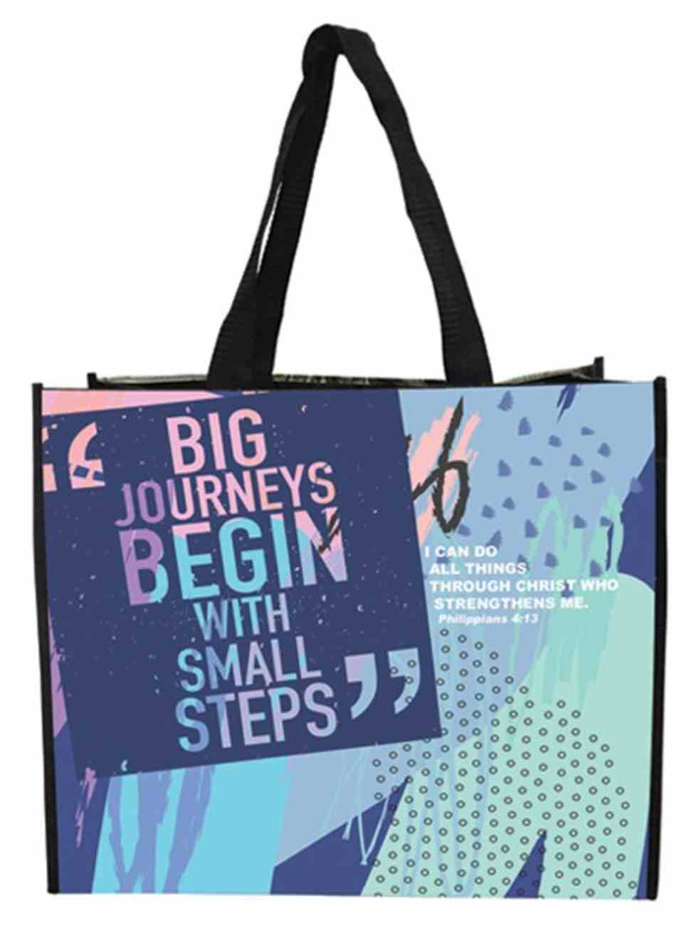 Non-Woven Tote Bag: Big Journeys Begin, I Can Do All Things, Philippians 4:13 Soft Goods