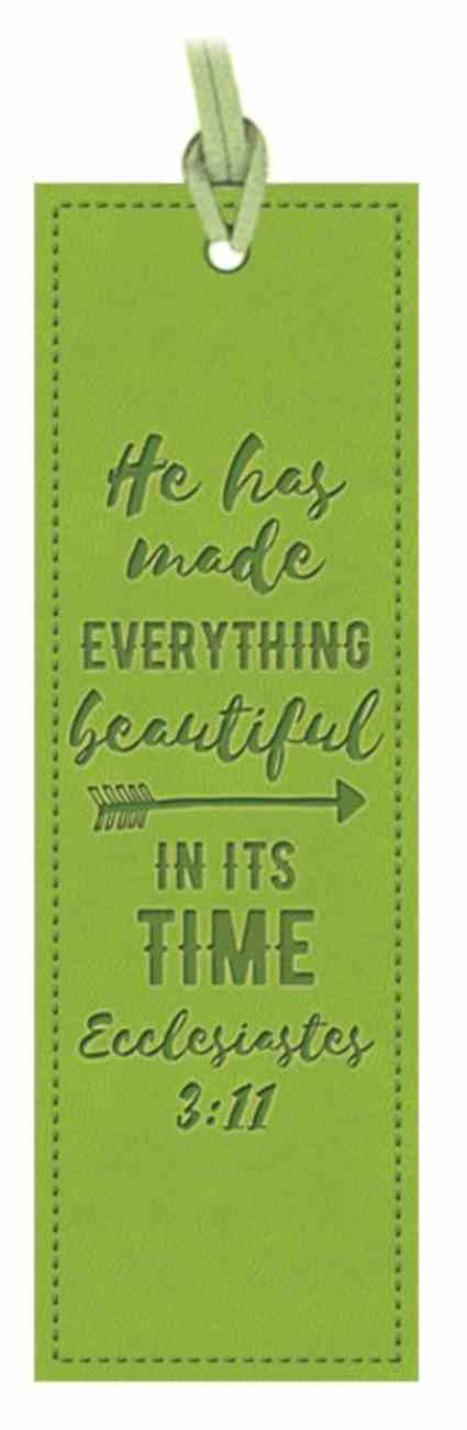 Bookmark: He Has Made Everything Beautiful, Ecclesiastes 3:11. Apple Green Imitation Leather