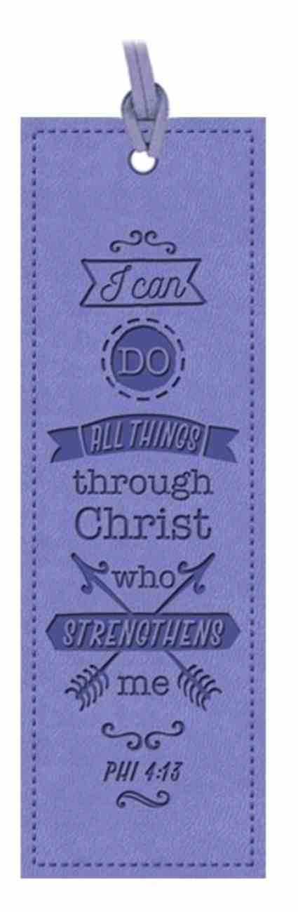 Bookmark: I Can Do All Things, Phi 4:13, Violet Imitation Leather