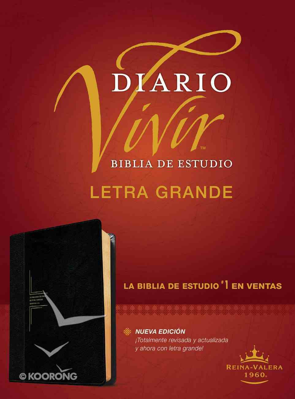 Rvr60 Biblia De Estudio Del Diario Vivir Letra Grande Negro/Onice (Red Letter Edition) (Large Print Study Bible) Imitation Leather