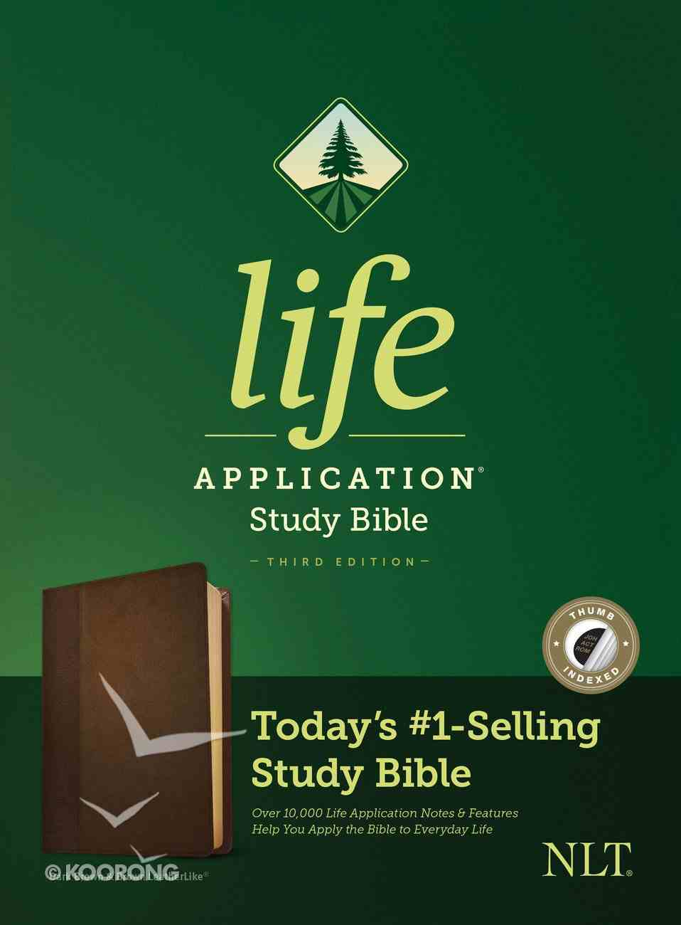 NLT Life Application Study Bible 3rd Edition Dark Brown/Brown Indexed (Black Letter Edition) Imitation Leather