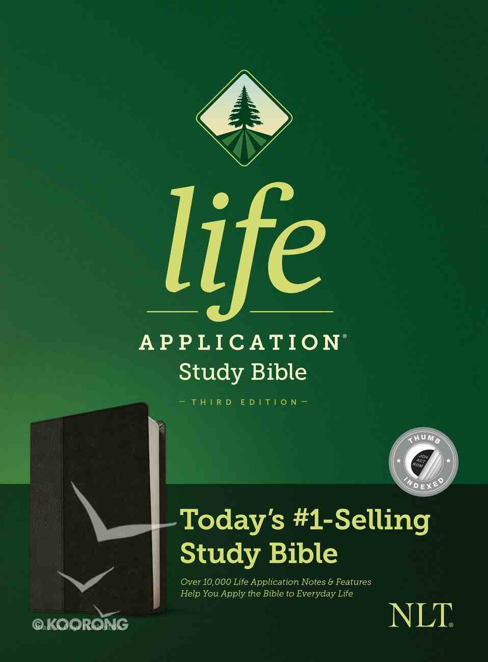 NLT Life Application Study Bible 3rd Edition Black/Onyx Indexed (Black Letter Edition) Imitation Leather