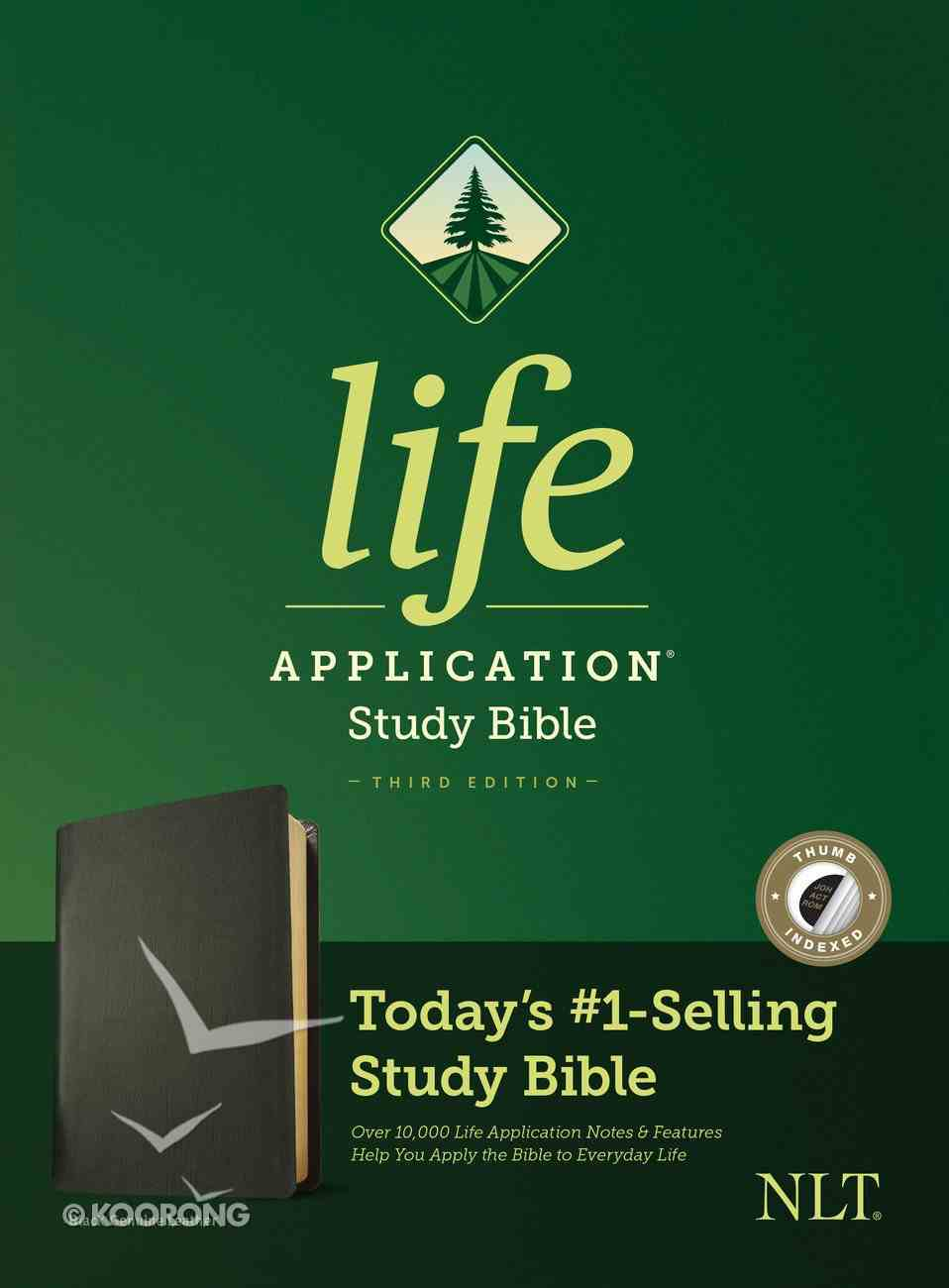 NLT Life Application Study Bible 3rd Edition Black Indexed (Black Letter Edition) Genuine Leather