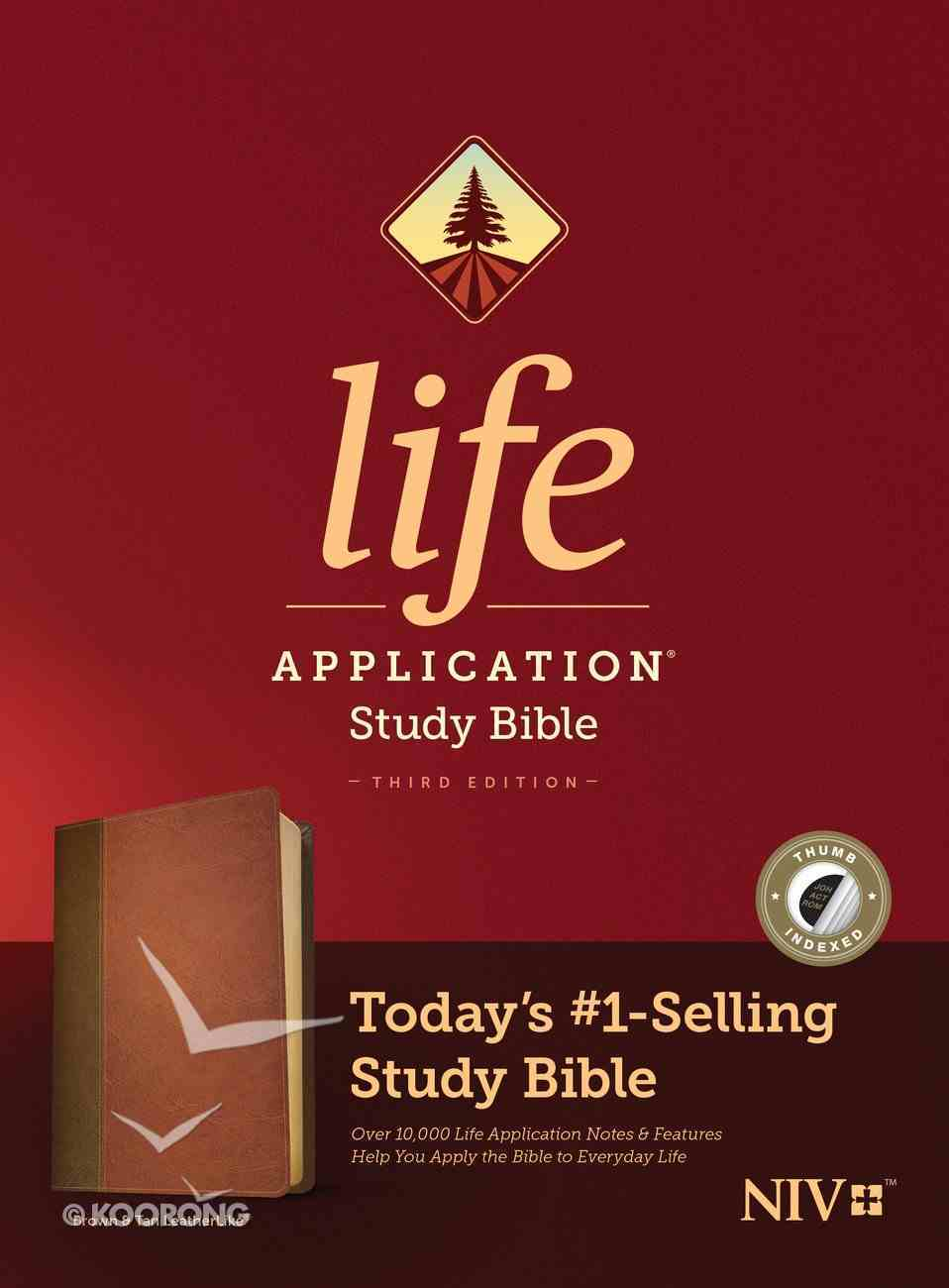 NIV Life Application Study Bible 3rd Edition Brown/Tan Indexed (Black Letter Edition) Imitation Leather