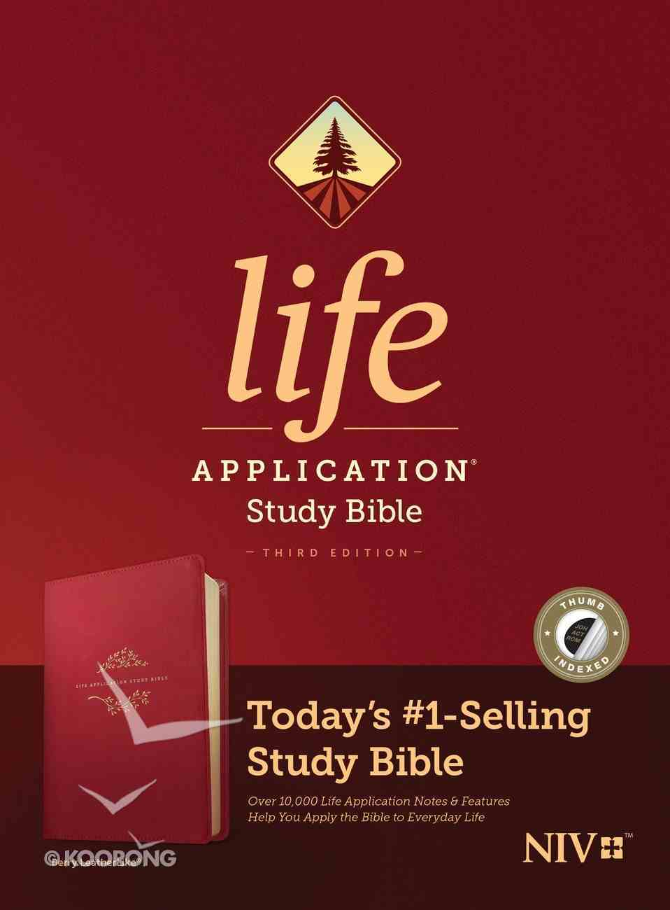NIV Life Application Study Bible 3rd Edition Berry Indexed (Black Letter Edition) Imitation Leather