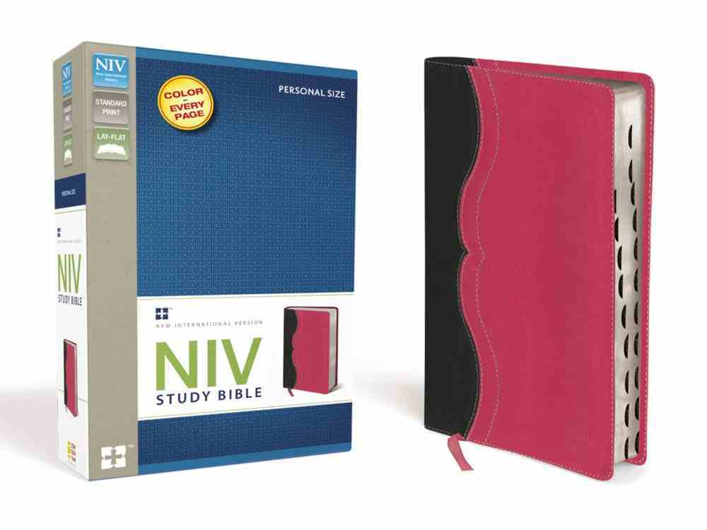 NIV Study Personal Size Bible Charcoal/Pink (Red Letter Edition) Premium Imitation Leather
