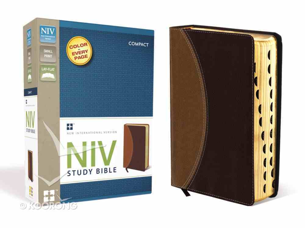 NIV Study Compact Indexed Bible Tan/Burgundy (Red Letter Edition) Premium Imitation Leather