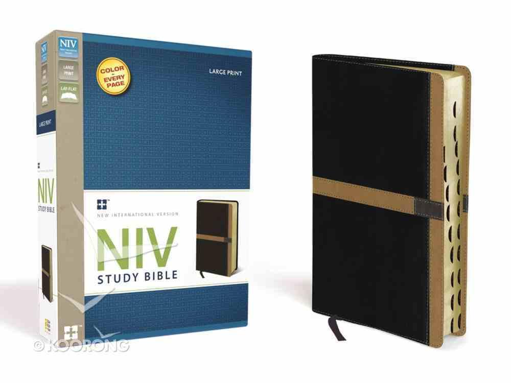 NIV Large Print Study Bible Black/Camel (Red Letter Edition) Premium Imitation Leather