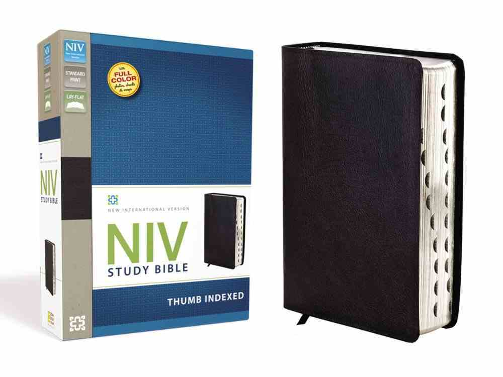 NIV Study Bible Regular Black Thumb Indexed (Red Letter Edition) Bonded Leather