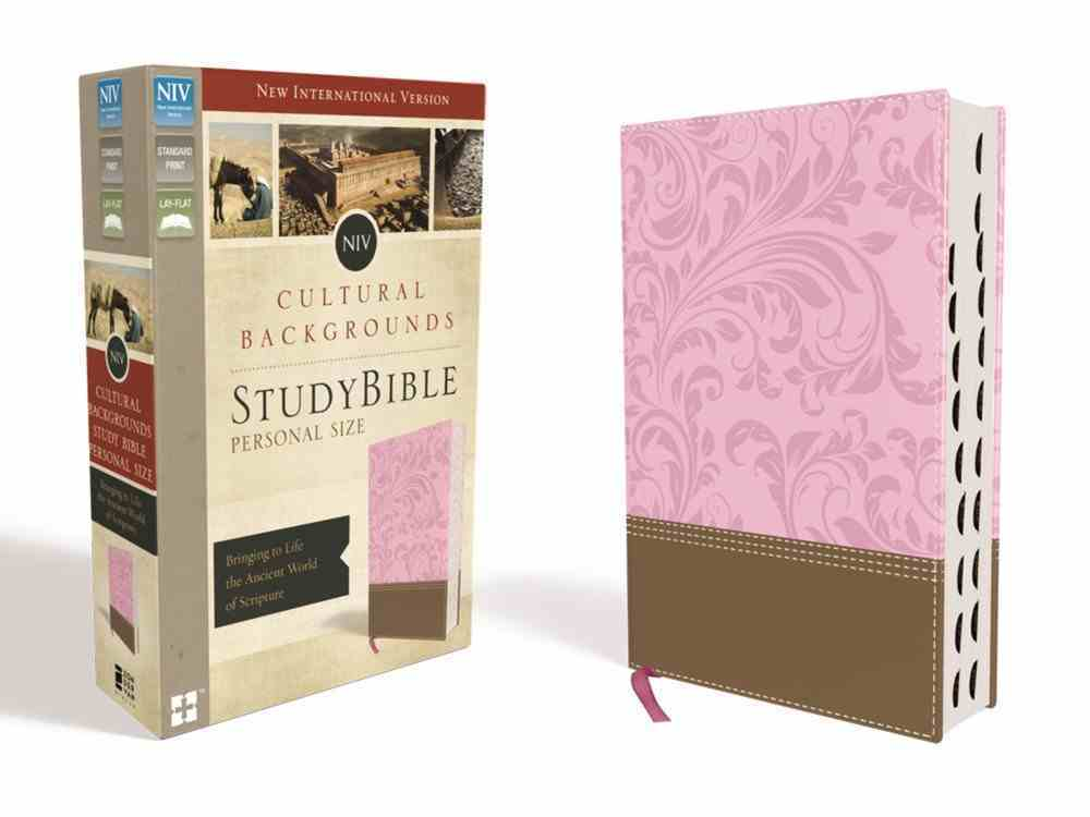 NIV Cultural Backgrounds Study Bible Personal Size Pink/Brown Indexed Red Letter Edition Premium Imitation Leather