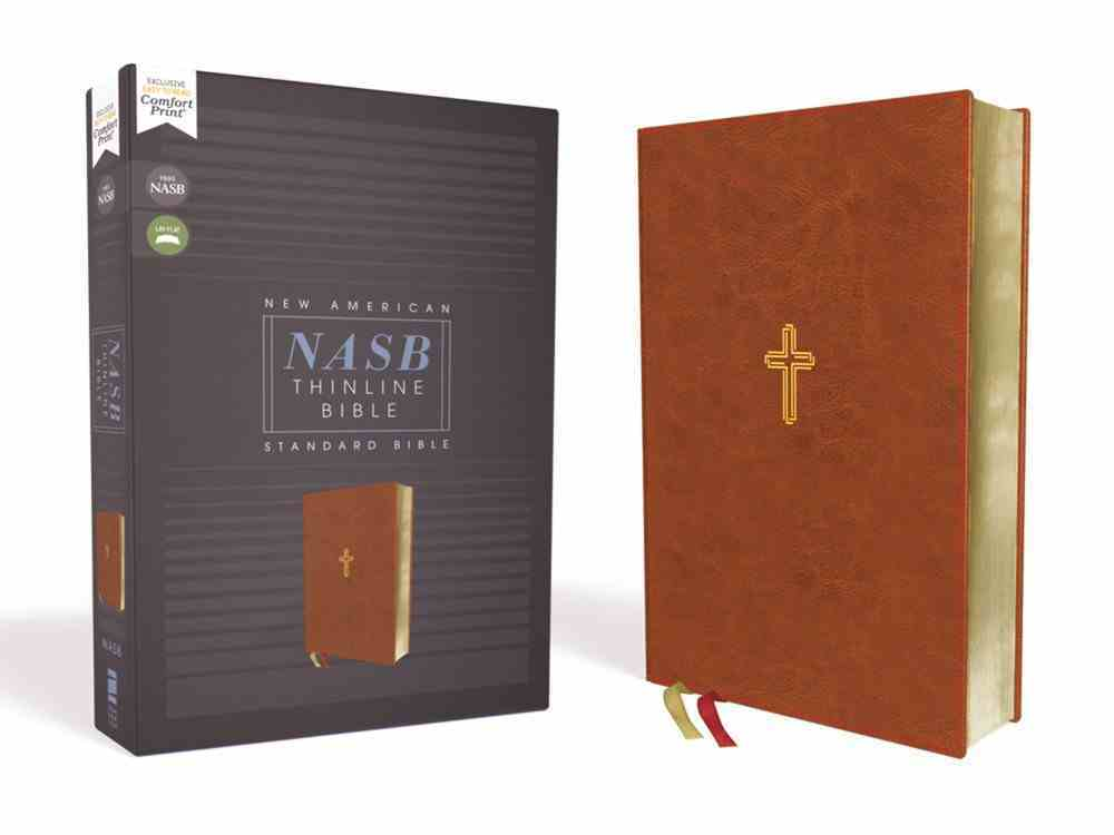 NASB Thinline Bible Brown 1995 Text (Red Letter Edition) Premium Imitation Leather