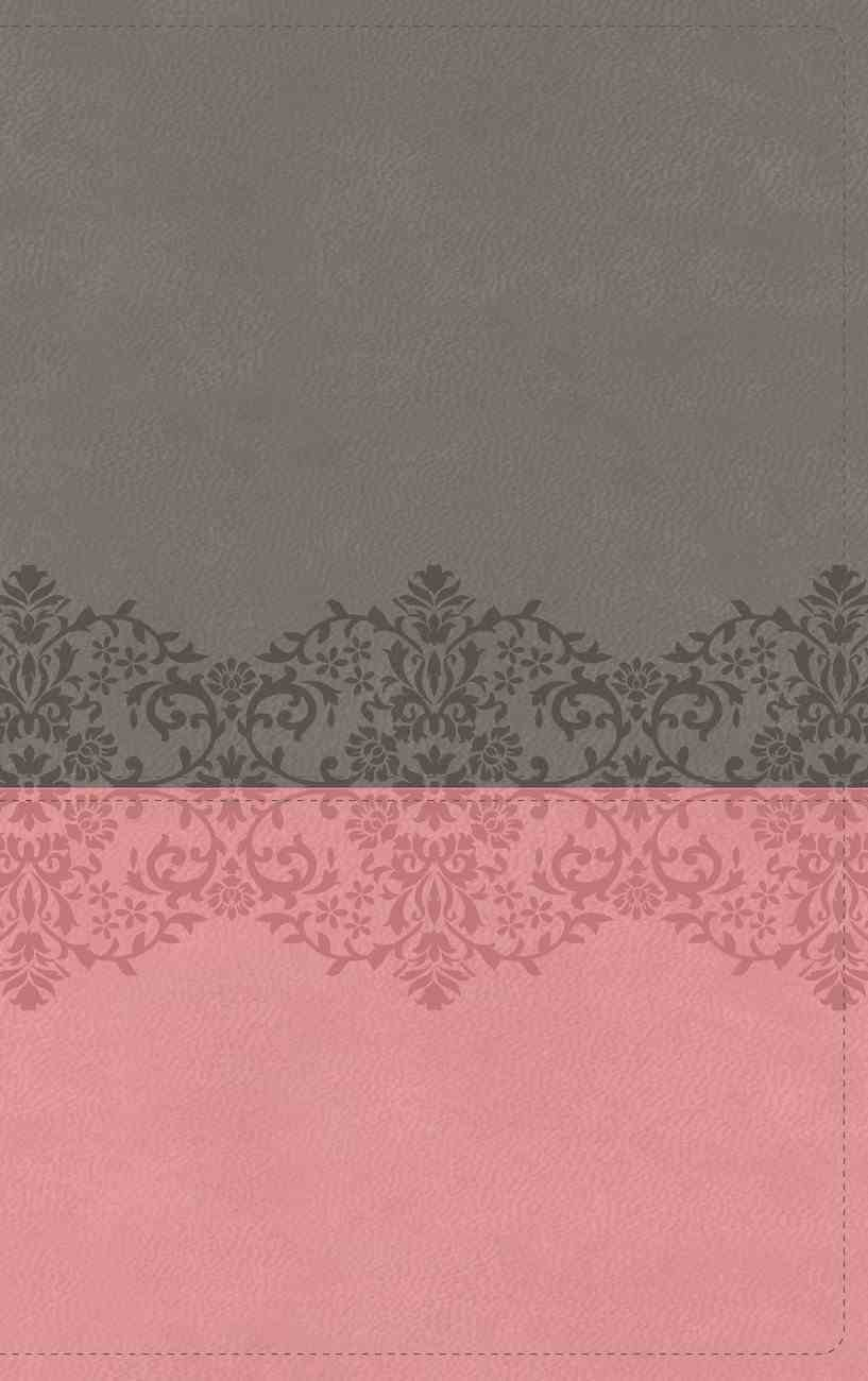 NIV Life Application Study Bible Third Edition Large Print Gray/Pink (Red Letter Edition) Premium Imitation Leather