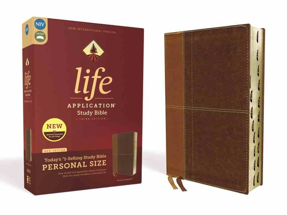 NIV Life Application Study Bible Third Edition Personal Size Brown Indexed (Red Letter Edition) Premium Imitation Leather