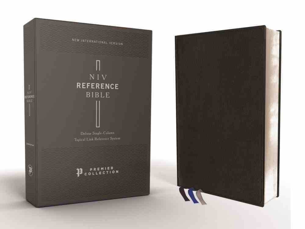 NIV Deluxe Reference Bible Black Premier Collection (Black Letter Edition) Genuine Leather