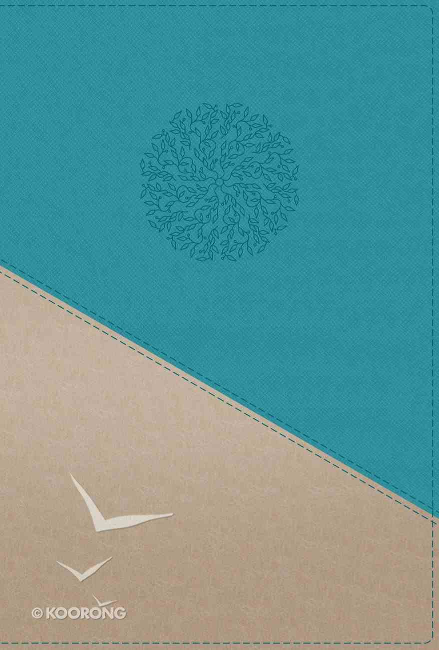 NIV Personal Size Bible Large Print Teal/Gold (Red Letter Edition) Premium Imitation Leather
