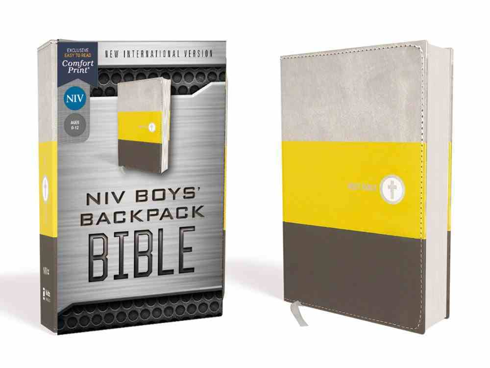 NIV Boys' Backpack Bible Compact Yellow/Gray (Red Letter Edition) Premium Imitation Leather