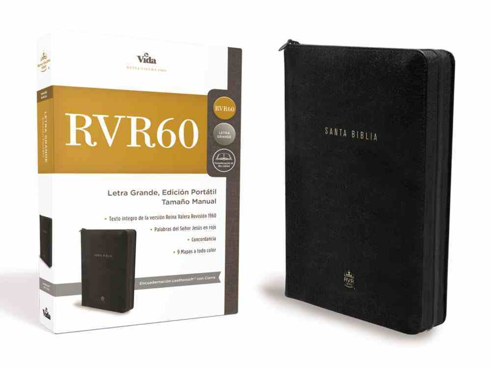 Rvr 1960 Santa Biblia Edicion Compacta Large Print Black Premium Imitation Leather