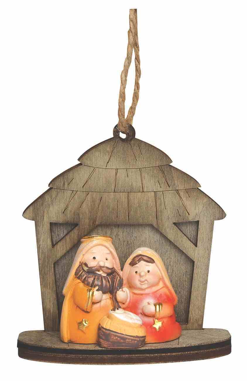 Christmas Ornament: Holy Family in Creche, Resin/Plywood Homeware