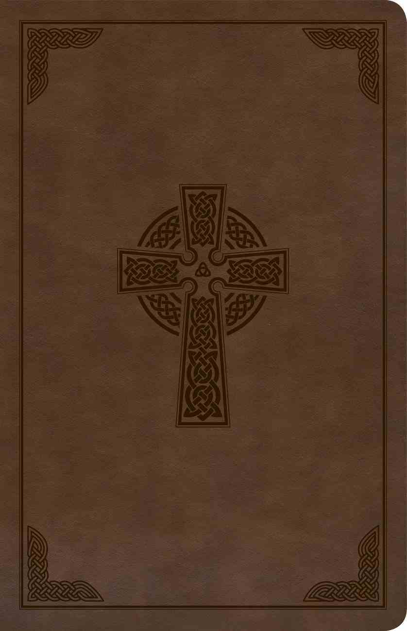 CSB Large Print Personal Size Reference Bible Brown Celtic Cross (Red Letter Edition) Imitation Leather