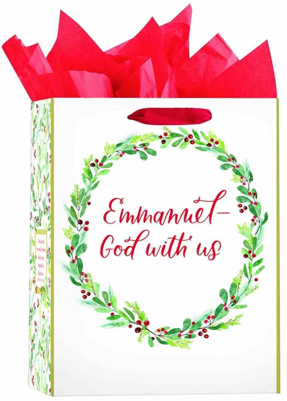 Christmas Gift Bag Medium: Christmas Wreath (Includes 2 Sheets of Tissue Paper) (Matt 1:23, Kjv) Stationery