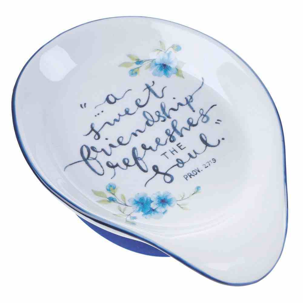 Ceramic Spoon Rest White With Blue Trim and Flowers (Proverbs 27: 9) (Sweet Friendship Collection) Homeware