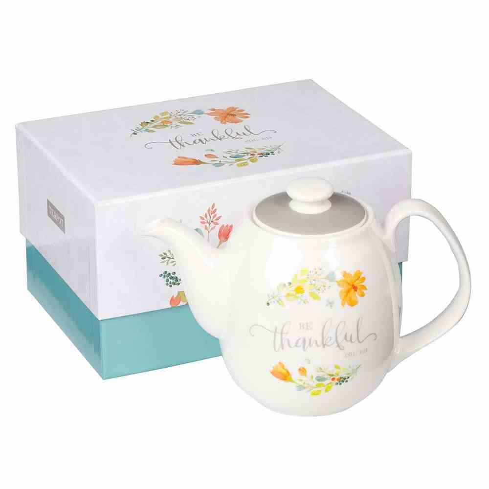 Ceramic Teapot Be Thankful, White With Flowers (946ml) (Grateful Collection) Homeware