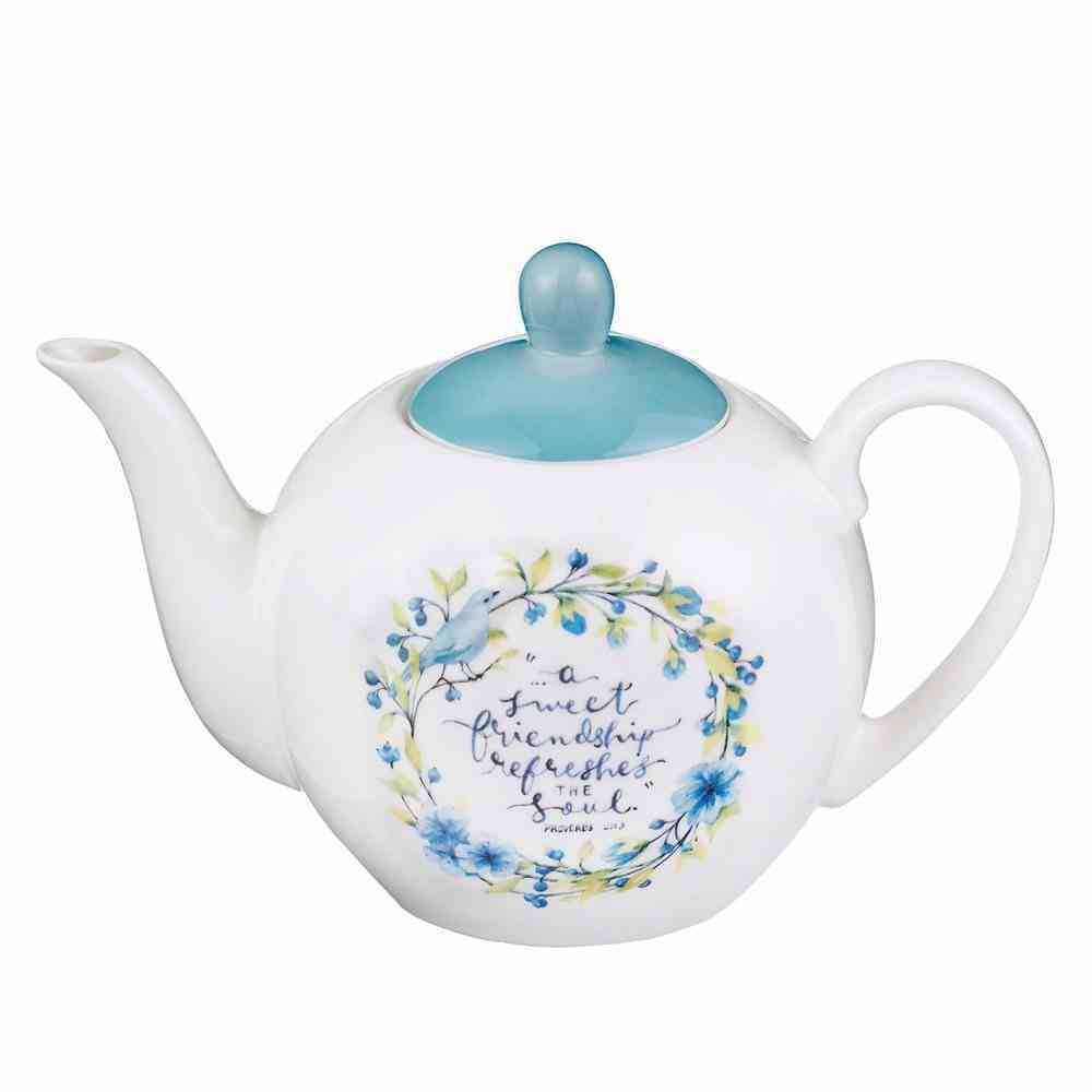 Ceramic Teapot White With Blue Lid and Flowers and Bird (Proverbs 27: 9) (Sweet Friendship Collection) Homeware