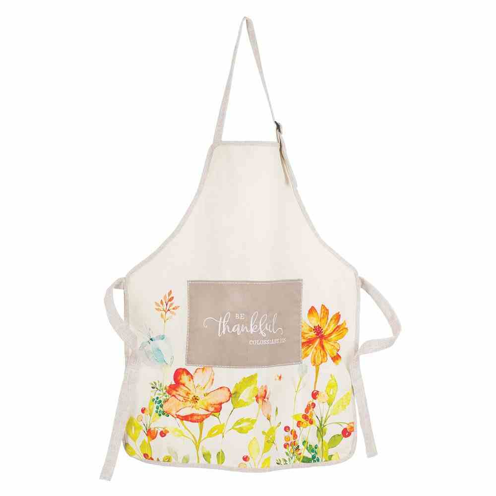 Apron Be Thankful, White With Flowers (Embroidered Front Pocket) (Grateful Collection) Soft Goods