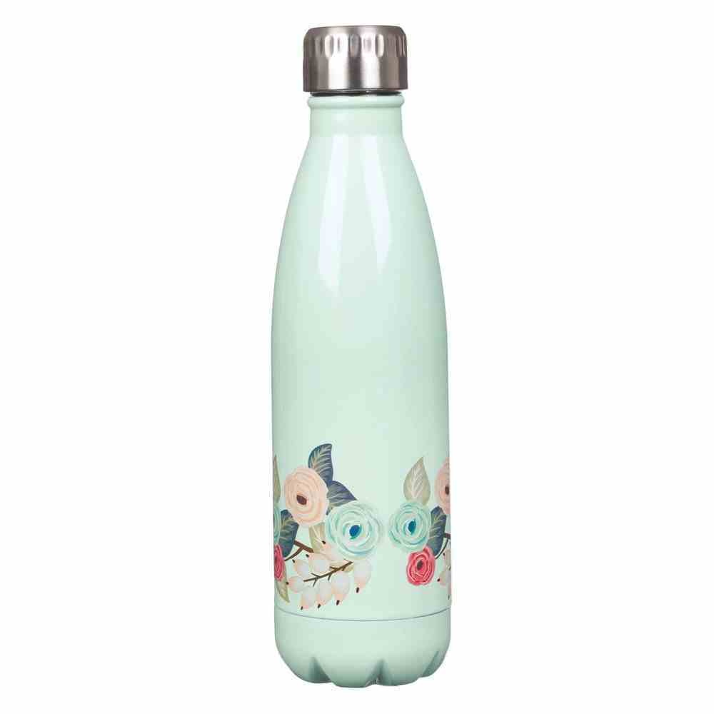 Stainless Steel Water Bottle: Strength and Dignity, Light Teal Floral With Silver Cap Homeware