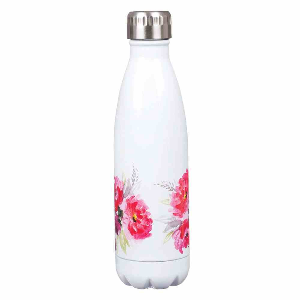 Stainless Steel Water Bottle: Be Still and Know, White Floral With Silver Cap Homeware