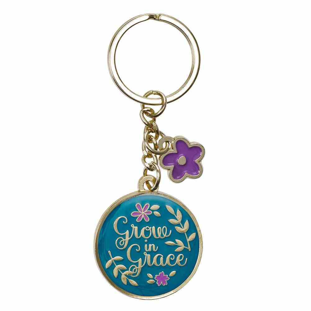 Keyring: Grow in Grace, Teal/Purple/Yellow Flower Epoxy Coated Jewellery