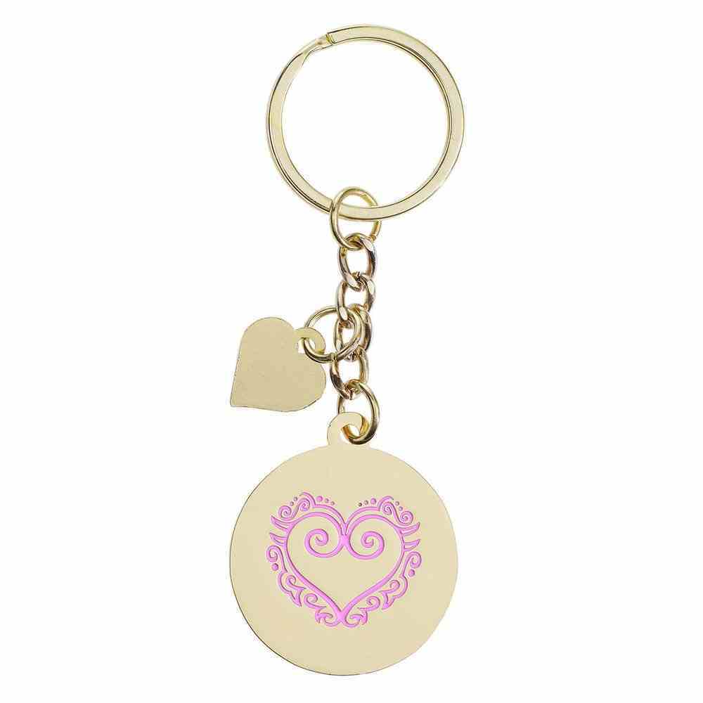 Keyring: Walk in Love, Orange/Yellow/Purple Heart Epoxy Coated Jewellery