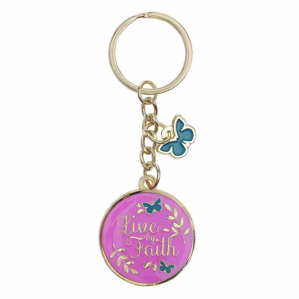 Keyring: Live By Faith, Purple/Yellow/Teal Butterfly Epoxy Coated Jewellery