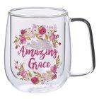 Glass Mug: Amazing Grace, Burgundy Floral (296ml) Homeware