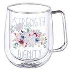 Glass Mug: Strength and Dignity, Blue Floral (296ml) Homeware